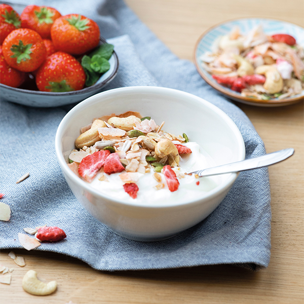 Granola aardbei cashew